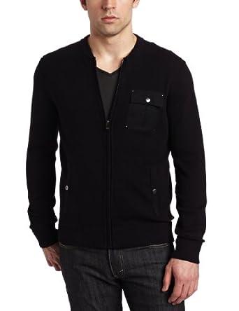 Calvin Klein Sportswear Men's Full Zip Sweater With Baseball Collar, Black, Large