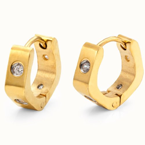 Stunning 4mm Stainless Steel Mens Hoop Earrings Cubic Zirconia (Gold)