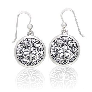 Sterling Silver Ancient Tree of Life with Sun and Moon Symbol Round Filigree Earrings