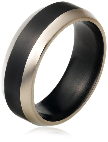 Men's Black Titanium 8mm Wedding Band Ring with Graduated Edges, Size 10