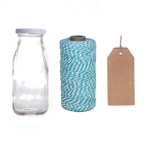 Dress My Cupcake 12-Pack Favor Kit, Includes Vintage Glass Milk Bottles And Twine/Kraft Gift Tag, Aqua front-507287