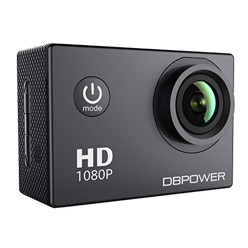 DBPOWER® Action Camera impermeabile 1080P HD 12MP KIT 2 Batterie ed accessoristica varia (Nero)