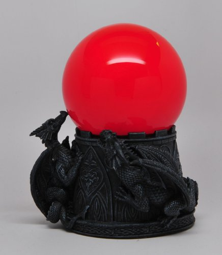 6.5 Inch Dragon Sandstorm with Giant Red Orbe Ball Statue Figurine
