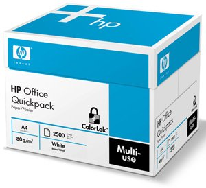 Hewlett Packard (HP) Office Paper Quickpack 2500 Sheets per Box No Wrap 80gsm A4 White  - Ref HPF031 (1 Box)