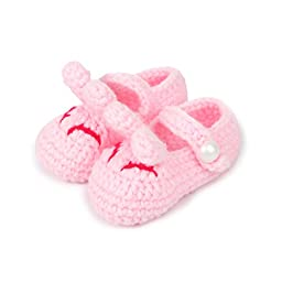 FuzzyGreen® Cute Smiling Bunny Rabbits Unisex Baby Newborn Infant Toddler Knit Sandals Flower Socks(Light Pink)