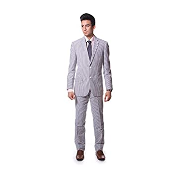 Classy Men's Seersucker White and Blue Stripe Two Button Suit (44 Regular)
