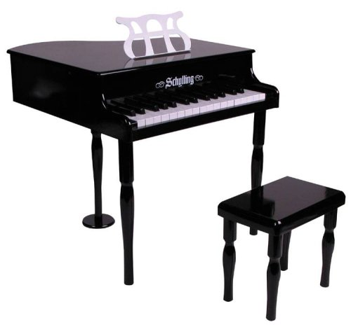 Children's Classic Grand Black Toy Piano & Bench (features 30 keys, a 2 1/2 octave span, sheet music stand and matching bench). Perfect for your young Mozart!