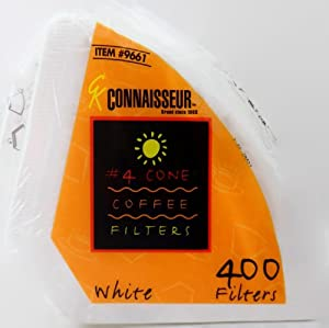 Connaisseur # 4 Cone White Coffee Filters, 400 Count Pack by Rockline Industries