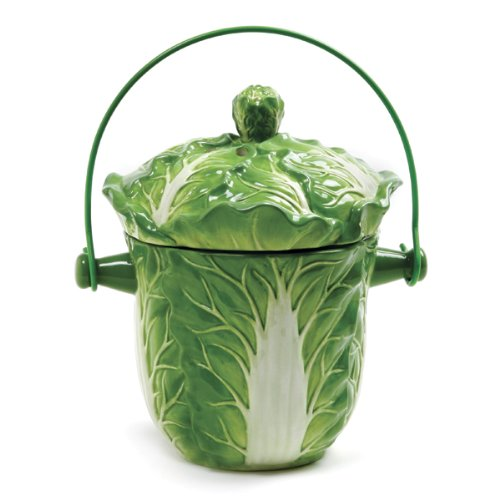Norpro Decorative Ceramic Lettuce Compost Keeper Pail New