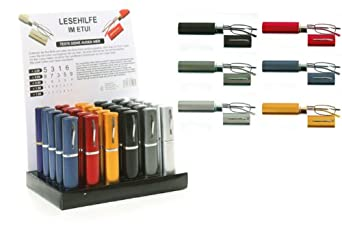 Immerschön Lesebrille - klassisches Design rot 3,0 dpt mit passendem Metall-Etui für Business und Freizeit Lesehilfe Sehhilfe Brille