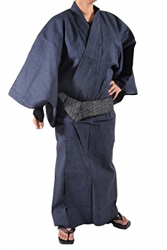Yukata Kimono Robe Cotton Mens 3 Item Set Size L Blue Japan Japanese Mt.Fuji