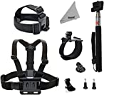 DEYARD ZG-634 GoPro Accessories Kit Set of 4 for GoPro HD Hero 1 2 3 &3+: Head Strap Mount + Chest Harness with J-hook Mount +Wrist Mount + Extendable Handheld Monopod with Tripod Mount + 2pcs Thumbscrew + DEYARD Superfine Fiber Cloth