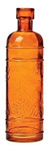 Luna Bazaar Small Orange Vintage Glass Bottle (round design)