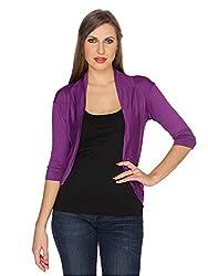 Ten on Ten Womens Purple Half Sleeve Shrug