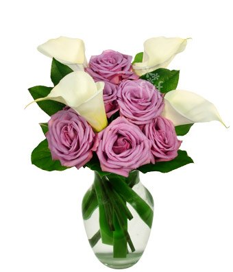 From You Flowers | Purple Rose & Calla Lily Bouquet | Free Vase Included