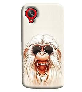 Blue Throat White Monkey With Glares Printed Designer Back Cover/Case For LG Google Nexus 5