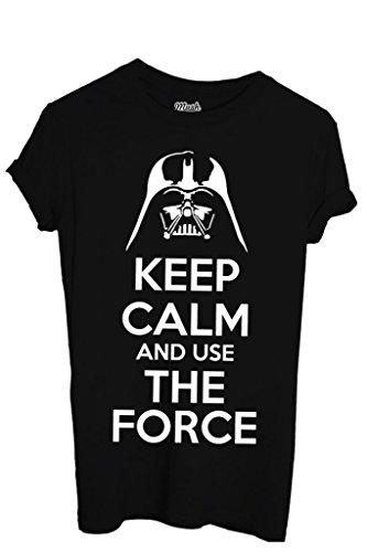 T-Shirt KEEP CALM STAR WARS LA FORZA - FILM by Mush Dress Your Style - Uomo-XXL-Nera