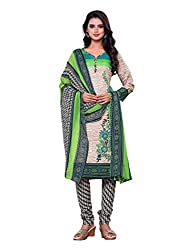 Salwar Style Design Women's Cotton Unstitched Salwar Suit Dress Material (SS1015_Free Size_Cream & Green)