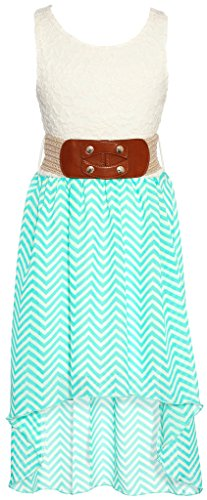 Wonder Girl MINI Big Girls' Mini Chevron Hi-Low Chiffon Dress Woven Belt Set