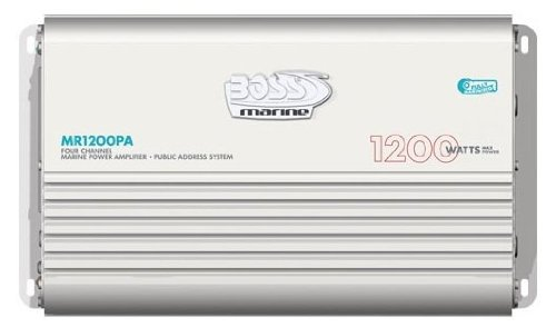Boss Audio Mr1200Pa 4-Channel Mosfet Bridgeable Marine Power Amplifier With Public Address System And Microphone