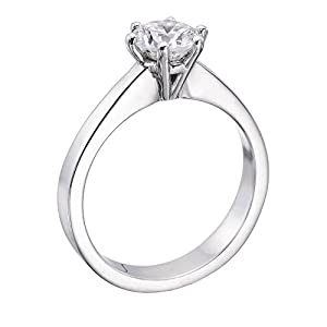 GIA Certified 14k white-gold Round Cut Diamond Engagement Ring (1.56 cttw, K Color, VS1 Clarity)