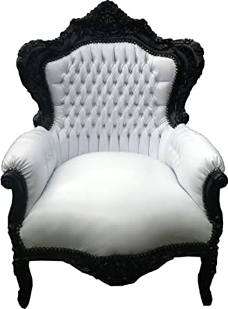 Baroque Armchair 'King' white / black leather look