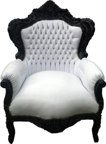 Barock Sessel 'King' Weiß/Schwarz Lederoptik