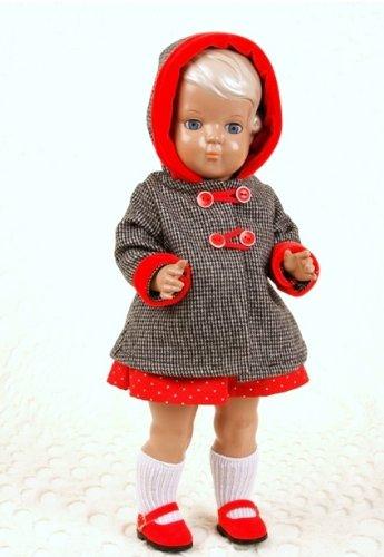 Schildkröt - Puppe Inge, 41 cm, blond, blaue Augen, in superschöner Winterkleidung