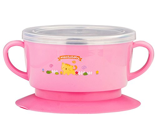 Fairy Baby Stainless Steel Baby Suction Bowl with Lid Scald-Proof,Pink (Stainless Steel Childrens Bowl compare prices)