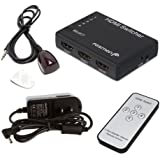Fosmon HD1832 Intelligent 5x1 5-Port HDMI Switch/Switcher with IR Remote and AC Adapter Supports 3D