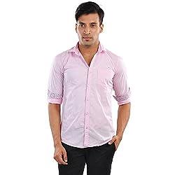 CREEDS Men's Pink Cotton Casual Shirt(Large)