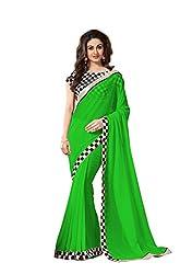 Hari Krishna sarees Designer Perrot Green Color With Black and White Chex Georgette Saree/f224