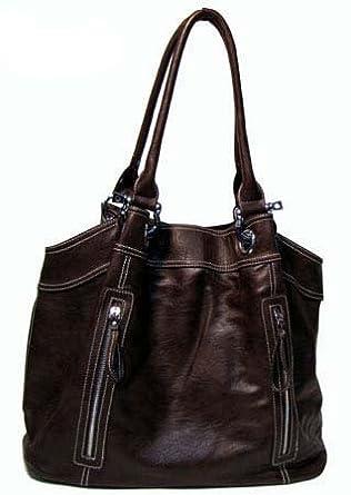 Large Zipper Tote Handbag (Dark Brown-old)