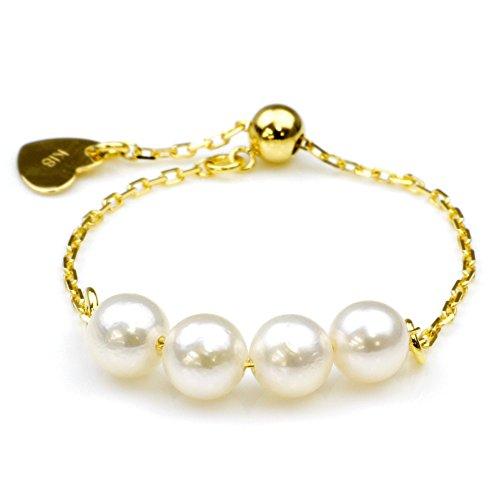 Nadi K18YG3.5-4.0mm Akoya pearl baby Pearl chain ring 3 from 20, 18 K Yellow Gold Baby Akoya Cultured Pearl Chain Ring