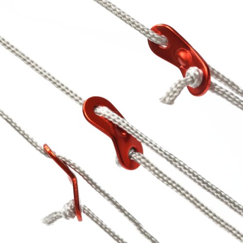 Bluecell Red Color 10Pcs Aluminum Guyline Cord Adjuster for Tent Camping Hiking Backpacking Picnic Shelter Shade Canopy Outdoor Activity