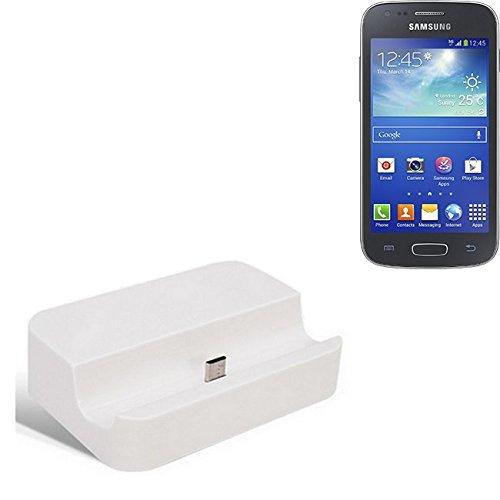 Micro USB Dockingstation, geeignet für das Samsung Galaxy Ace 4, weiß | Ladestation inkl. USB 2.0 Datenkabel / Ladekabel, Dock Cradle Tischlader Universal verwendbar für Smartphone Handy mit Micro USB Anschluss, Ladegerät Tischladestation, Marke: K-S-Trade(TM), kompatibel mit Samsung Galaxy Ace 4