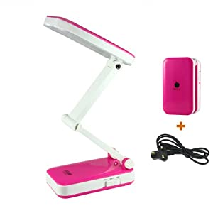Portable Daylight Desk Lamp 2 Watts Bright 24 LEDS Touch ON OFF,Adjustable and Dim Function (LED-666, Rose) from BXT-LED