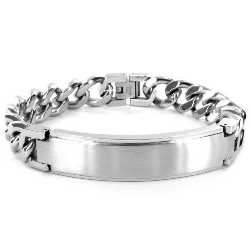 Stainless Steel ID Bracelet (14mm) with Curb Chain - 9 Inches