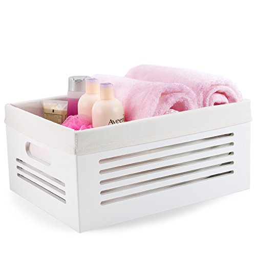 Wooden Storage Bin Containers - Decorative Closet, Cabinet and Shelf Basket Organizers Lined With Machine Washable Soft Linen Fabric - White, Large - By Creative Scents (Military Modular Headset compare prices)