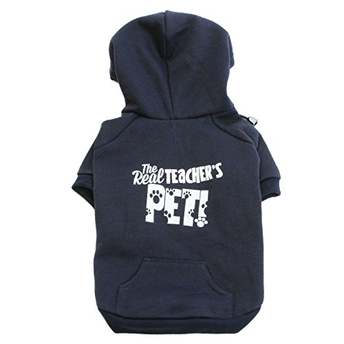 Teacher Peach The Real Teacher's Pet Dog Hoodie Navy Blue Small