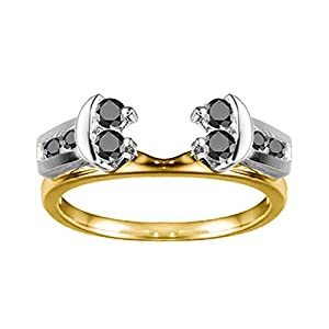 0.42 CT Black Diamonds Attractive Anniversary Style Jacket Ring in Two Tone Sterling Silver