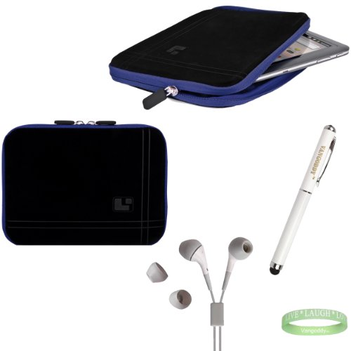 Black And Blue Sleeve, Bubble Like Interior Lining To Prevent Scratches For Your 8Inch Tablet + Electric Geen Vangoddy Bracelet + 3 In 1 Styuls + White Earbuds!!!