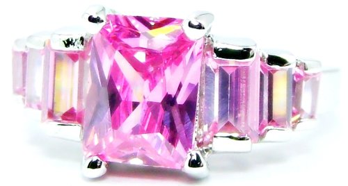 5-Stone Princess Cut 1 Carat Pink Topaz Engagement Ring, Heart Shape Filigree Accents, Size 6
