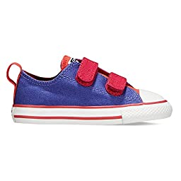Converse Baby Girls\' Chuck Taylor All Star 2V Ox (Inf/Tod) - Periwinkle/Pink/Blush - 5 Infant