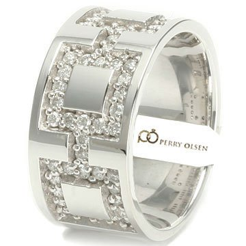 .75ct VVS E-F 14K White Gold Square Linked High End Men&#8217;s Diamond Wedding Ring, 8