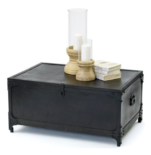 Buy low price marine map black patina industrial trunk for Buy black coffee table