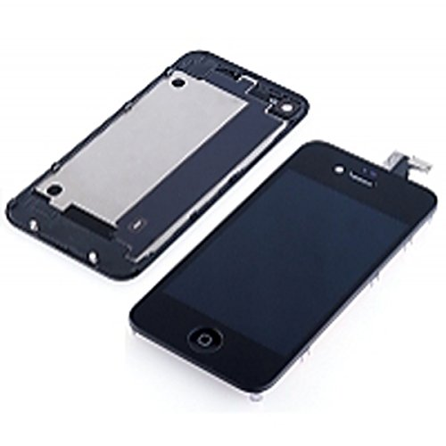 Amh® Front Lcd Display And Touch Screen Digitizer Assembly Replacement + Back Cover Housing + Home Button + Opening Tools Kit With Gift For Iphone 4 Gsm A1332 (At&T/T-Mobile) (Black)