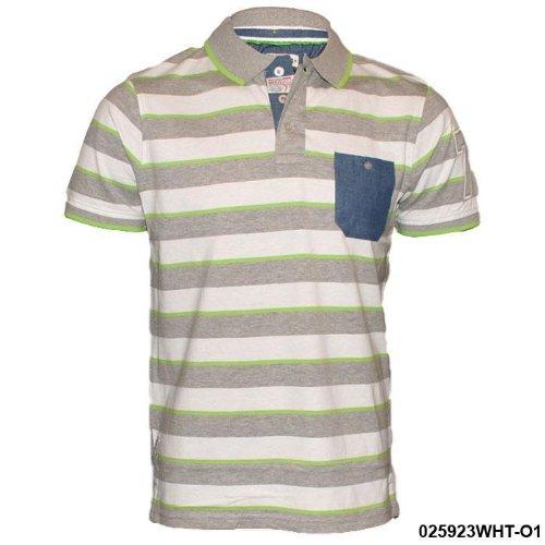 Mens Brave Soul White Striped Polo T-Shirt O2 Size Small