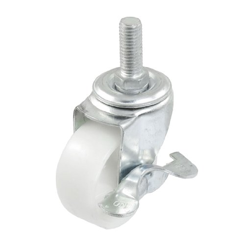 4.9mm Single Wheel Side Brake Threaded Swivel Nylon Caster White 5 cast iron caster universal swivel castor with brake
