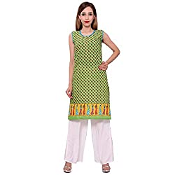 MSONS Women's Green Printed H/S Long Kurti in Cotton Fabric